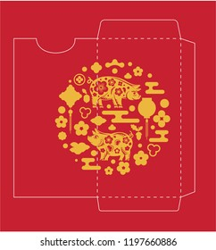Chinese New Year Money Red Packet with Pig (symbol of 2019 ) Die-cut.