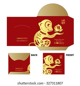 Chinese New Year Money Red Packet (Ang Pau) Design with Die-cut. Monkey year Chinese zodiac symbol /  stamps Translation: Everything is good
