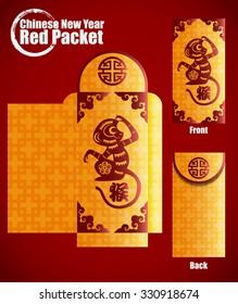 Chinese New Year Money Red Packet. Translation: Monkey