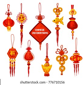 Chinese New Year ornament icon set. Oriental red lantern and lucky knot decoration with fortune coin and golden fish for Lunar New Year and Spring Festival greeting card design