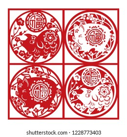 Chinese New Year Year of the Pig. Chinese Character means prosperity.