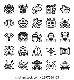 chinese new year pixel perfect icons, vector editable stroke