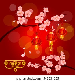 chinese new year poster with red paper lanterns hanging on branches of blooming plum tree with