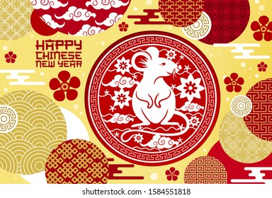 Chinese New Year rat or mouse of Lunar animal zodiac symbol vector greeting card. Papercut pattern with flowers, golden coins and plum blossom, clouds and oriental ornaments, Asian Spring Festival