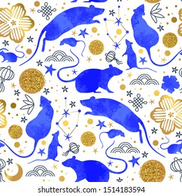 Chinese New Year of the rat seamless pattern with blue watercolor mouse animals, gold asian culture icons and hand drawn doodles. Traditional lunar festival holiday background.