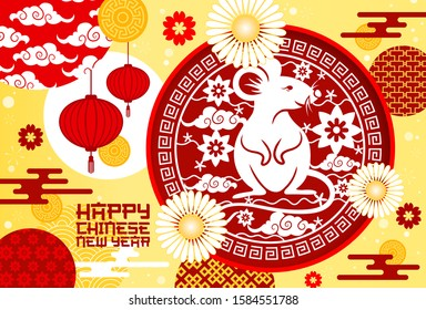 Chinese New Year rat and Spring Festival lanterns vector greeting card. Animal zodiac mouse with golden coins, flowers, red paper lamps and plum blossom with oriental ornament of waves and clouds