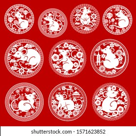Chinese New Year rat vector icons. Mouse papercut symbols of animal zodiac or horoscope, Asian lanterns, pagodas and blooming plum flowers, coins and clouds with frames of oriental ornament