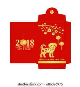 Chinese New Year red envelope flat icon. Vector illustration. Red packet with gold dog and lanterns.