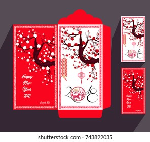Chinese New Year red envelope flat icon, year of the dog 2018