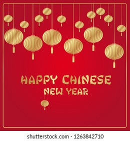 Chinese New Year red and gold vector background