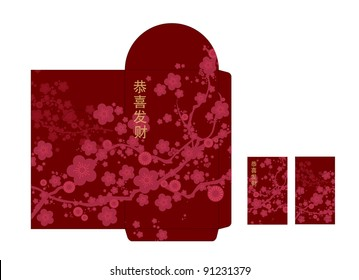 Chinese new year red packet (ang pau) mock-up template with chinese characters that says 'wishing you prosperity'