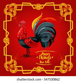 chinese new year rooster festive poster oriental zodiac cock or chicken greeting card with golden