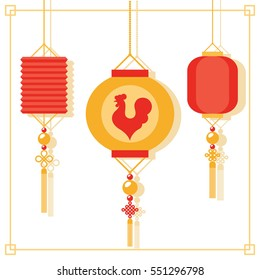 Chinese new year of rooster hanging lanterns decorations