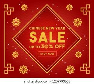 Chinese New Year sale discount design template vector web banner. Chinese new year of pig , chinese traditional frame ornament. Chinese decoration. Sale gift Grand Sale, promotion, advertising 2019