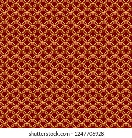 Chinese New Year seamless geometric pattern, golden on red. Vector illustration. Flat style design. Concept for holiday banner, greeting card, decorative element, textile print, wrapping paper.