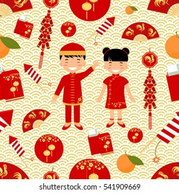 Chinese New Year seamless pattern. Vector illustration.