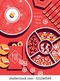 "Chinese New Year snack plate include nuts, candies and cookies. Chinese envelope with Chinese character - ""FU"" it means blessing and happiness in Chinese."