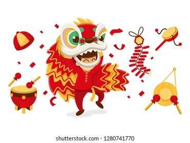 Chinese New Year and Spring Festival poster. Oriental paper lantern, zodiac rooster, golden coin, dragon, god of wealth, mandarin fruit, gold ingot boat, firework, folding fan and festive food