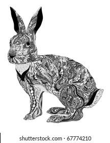 Chinese new year symbol - rabbit. Very detailed.