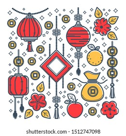 Chinese New Year symbols, oriental culture, luck and wealth symbols vector. Money sack and fan, fruits and gold lucky coins, lanterns or lamps, flower blossom. Peach and lemon, apple and sakura buds