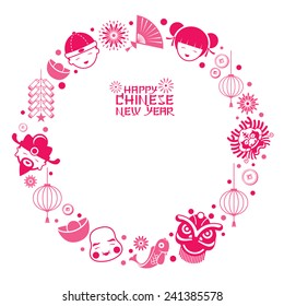 Chinese New Year Text with Icons Wreath