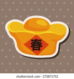 chinese new year theme elements gold ingot means wish good luck and fortune come
