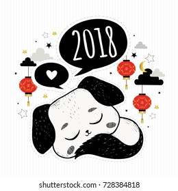 Chinese New Year. Vector illustration with hand drawn  puppy, decorative clouds and chinese traditional lanterns. Symbol of 2018. Dog.