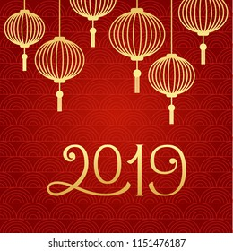 Chinese New Year winter holidays vector greeting card with traditional chinese lanterns and 2019 figures. Banner, poster template. Gold color signs on red textured background. Festival decoration card