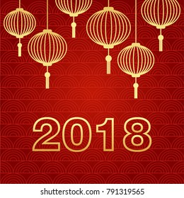 Chinese New Year winter holidays vector greeting card with traditional chinese lanterns and 2018 figures. Banner, poster template. Gold color signs on red textured background. Festival decoration card