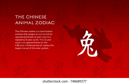 Chinese New Year zodiac rabbit animal vector silhouette and symbols . All symbols translation in English: dog, dragon, horse, monkey, ox, pig, rabbit, ram, rat, rooster, snake, tiger. Poster with text