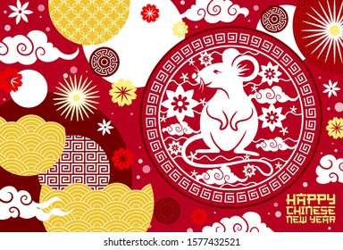 Chinese New Year zodiac rat and flower papercut pattern vector greeting card. Mouse symbol of animal horoscope with plum blossom, oriental clouds and waves, Spring Festival and Lunar New Year design