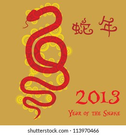 Chinese New Year: The Chinese Zodiac - Year of the Snake 2013 with Chinese word - Snake year