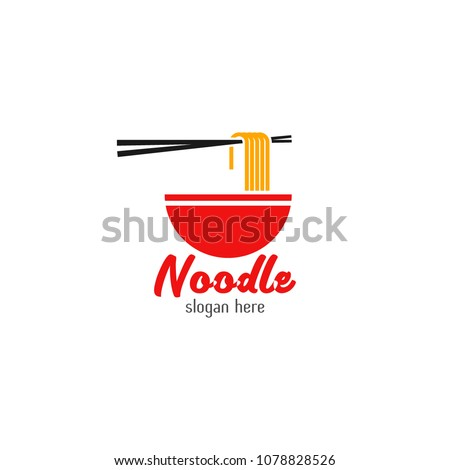 Chinese noodle logo design icon template. Japanese ramen vector illustration