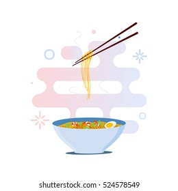 Chinese noodles and chopsticks vector illustration. Bowl of pasta with shrimps, eggs and parsley on white background.