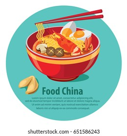 Chinese Noodles and Fortune Cookie with Chopsticks. illustration vector