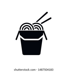 Chinese noodles in paper box and chopsticks glyph icon. Wok noodles. Silhouette symbol. Negative space. Vector isolated illustration