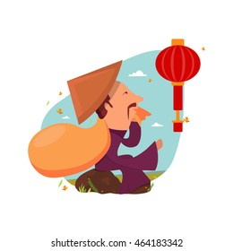 Chinese old man sitting in the stone and holding Chinese lanterns circular and cylindrical shape. Chinese Traveler concept.