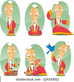 Chinese old wise sage cartoon illustration