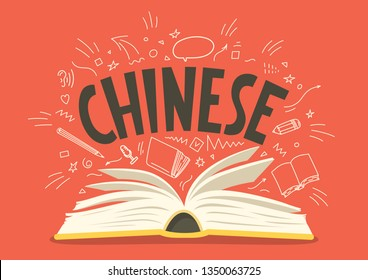 Chinese. Open book with language hand drawn doodles and lettering. Education vector illustration