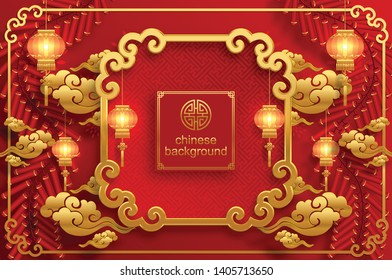 Chinese oriental background and  asian elements with gold patterned template on red paper color for greetings card,invitation,posters,banners,calendar