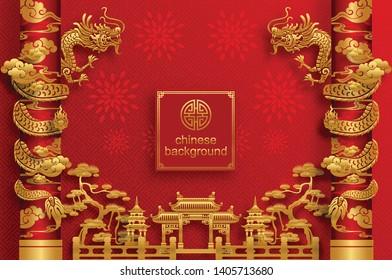 Antecedentes orientales chinos y elementos asiáticos con motivos dorados en color de papel rojo para tarjetas de felicitación, invitación, carteles, pancartas, calendario