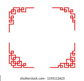 Chinese ornament for corner in linear art, vector