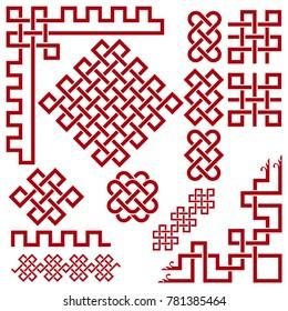 Chinese ornament. Set of Oriental Design Elements: frame, border, knot, ornament, corner.