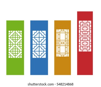 Chinese ornament for wall, and window in flat