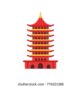 Chinese Pagoda building. Cartoon multi-tiered tower. Buddhist temple. Ancient architecture concept. Culture symbol of China. Flat vector illustration