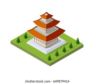 Chinese pagoda building house buddhist art of the temple of Oriental asia culture in an isometric view