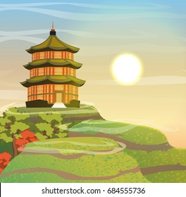 Chinese pagoda with a green sloping roof at sunrise. Hills with sandy paths, trees, sky, sun and clouds. Romantic oriental vector landscape can be used in newsletter, brochure, postcard, banner