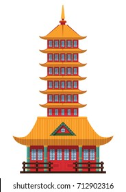 Chinese pagoda. Chinese and Japanese architecture temple, cathedral  object isolated on white background