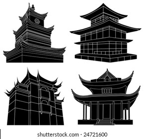 Chinese pagoda silhouettes, highly detailed, vector illustration
