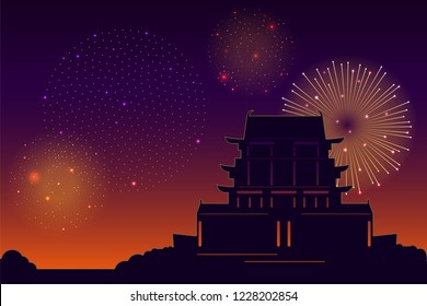 Chinese pagoda Vector illustration in comics style Landscape with traditional pagoda and bright shots of fireworks in the sky Design template with copy space